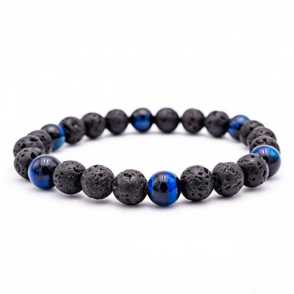 Lavastein Armband Tigerauge blau – Harmonie