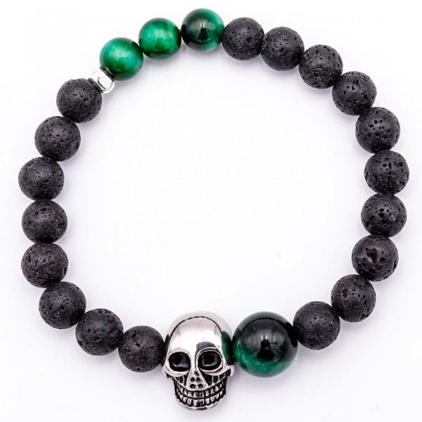 Lava Armband mit Totenkopf grün - Glück