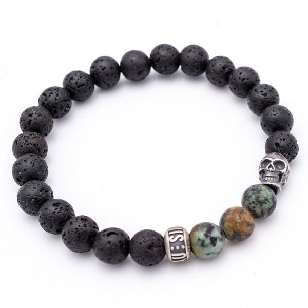 Vulkanstein Männerarmband •Green Skull•