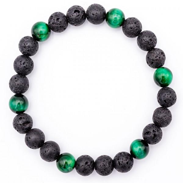 Lavastein Armband Tigerauge grün - Zufriedenheit